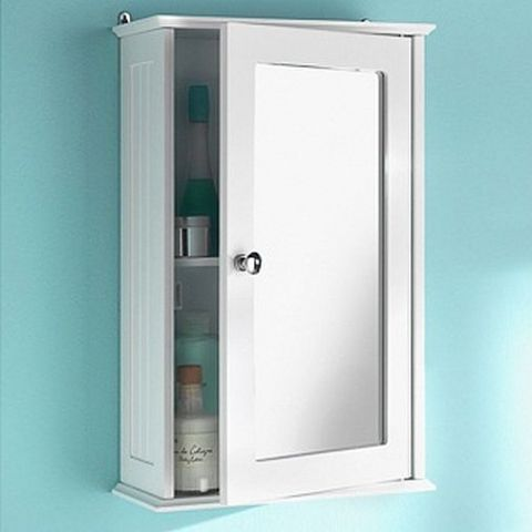 New England White Single Bathroom Cabinet & Mirror